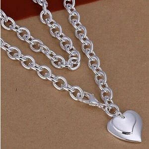 Jewelry - Woman's double heart silver 925 necklace